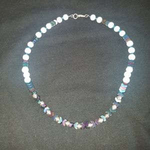 Hematite 18 inches long  necklace.  Rainbow colors